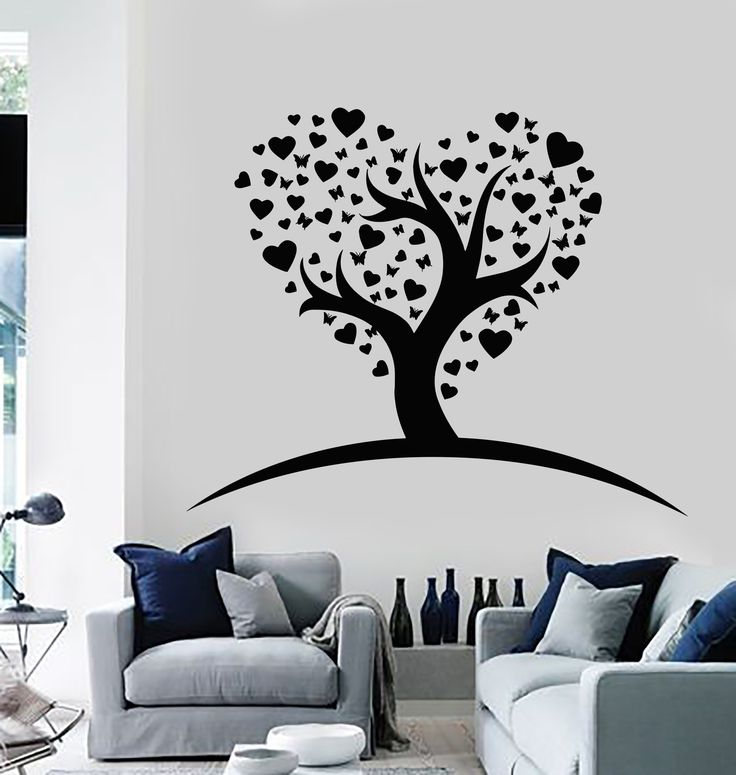 Vinyl Wall Stickers Romantic Love Tree Decor Girl Room Mural (168ig)