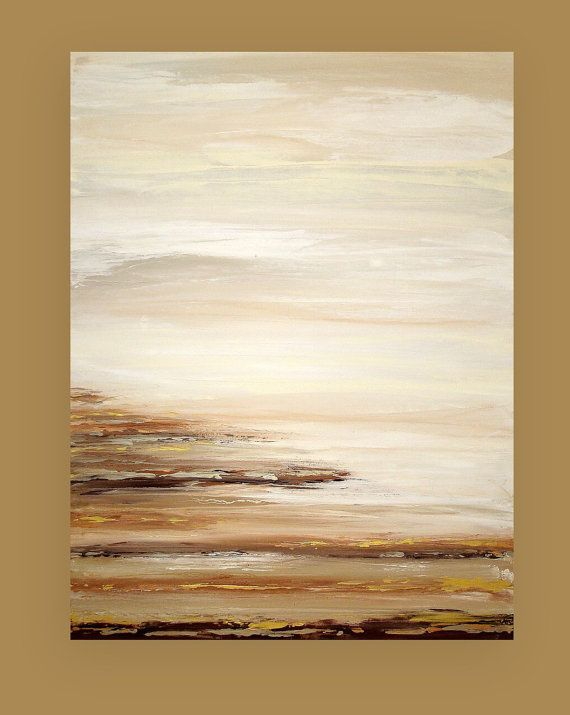 """Art and Collectibles, Seascape, Original Abstract, Acrylic Paintings, Art on Canvas by Ora Birenbaum Titled: In the Distance 30x40x1.5"""""""