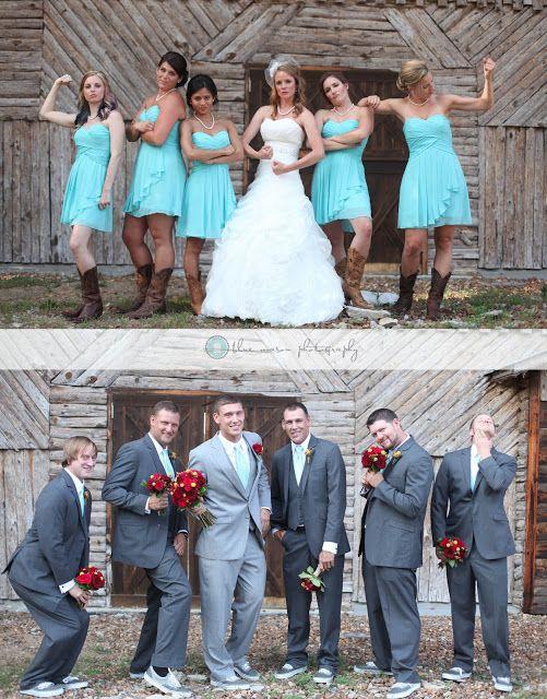 Bridesmaids pose like the guys and Groomsmen pose like the girls!