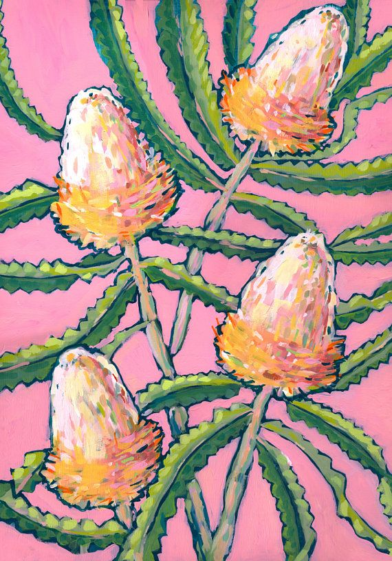 This painting is of some Waratahs, native to the southeastern parts of Australia. The original painting was done in acrylic paint on canvas. This listing is for an archival print of the painting. I love drawing flowers, plants and patterns and I love the quote by Henri Matisse: There are always flowers for those who want to see them . Each art print is a high quality Epson ink jet, using archival inks, on Epson matte heavyweight, bright white card, which will be signed and dated. Sizes: A5…