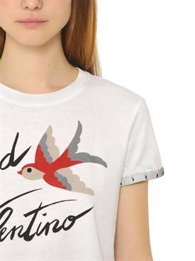 레드 발렌티노 - 여성 - 티셔츠 - / 얇은 명주 그물 승 코튼 저지 티셔츠 인쇄