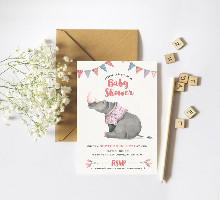 Boy Baby Shower Invitation Water Color