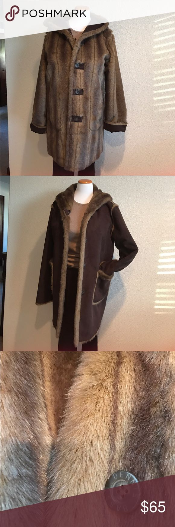 """BEAUTIFUL Dennis Basso reversible coat! Dennis Basso coat,dark chocolate brown suede and faux fur, so plush and cozy.This honestly feels so real and didn't hurt any animals.NWOT 48""""b Dennis Basso Jackets & Coats"""