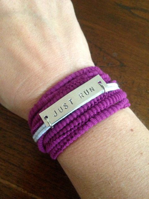 Running Motivation Bracelet JUST RUN Hand by wordstosweatby