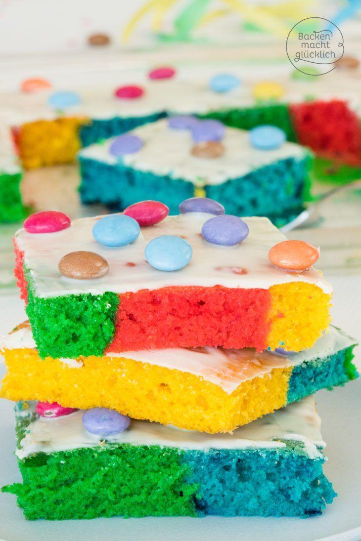 Regenbogenkuchen Vom Blech Rezept Kuchen Kuchen Ruhrteig Und