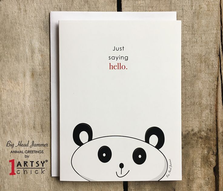 "ANIMAL GREETINGS 1 Single Big Head Jammer Panda Animal Greetings Card with Bleed, Blank Inside, Kids Original Art, Saying Hello 4.25"" x 5.5"" https://www.etsy.com/shop/1ArtsyChickStudio?ref=hdr_shop_menu"
