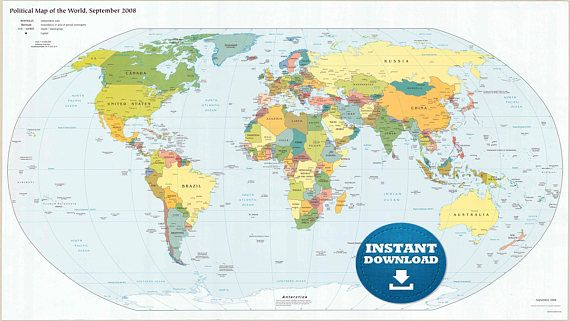 picture regarding Large Printable World Map known as Electronic Revolutionary Political Earth Map Printable Down load. Heavy