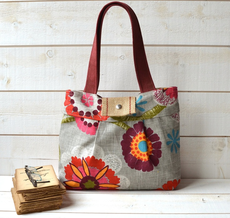 Bright Purse Diaper bag MIMOSA GRAY Medium / floral print  with red pink flower/  Water resistant lining -8 pockets. $79.81, via Etsy.