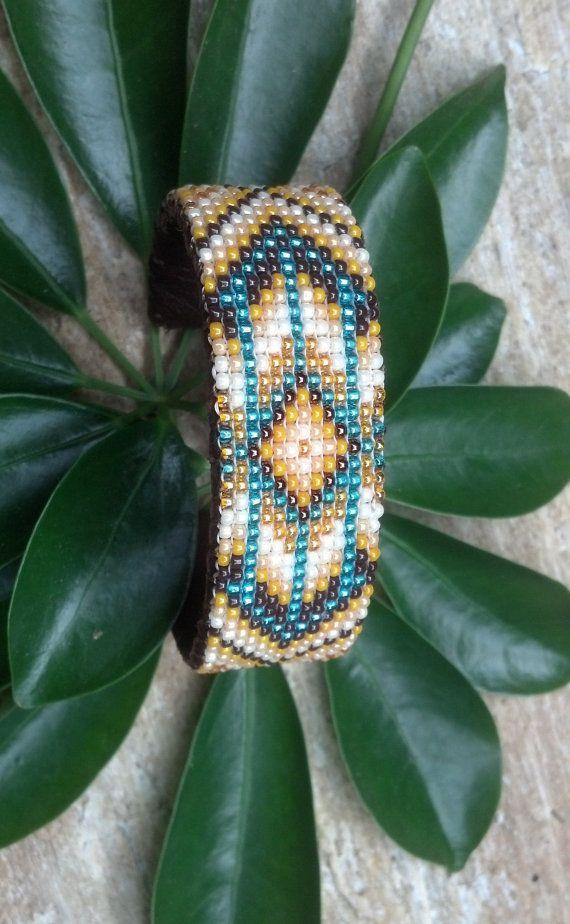 Native Inspired Beaded Bracelet by Twohawksbeadworks on Etsy, $35.00