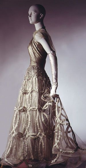 """Evening Dress, 1938 by designer Madeleine Vionnet.  Silver lamé and ivory silk net.  The Metropolitan Museum of Art, New York.  Amazingly details but it doesn't feel """"busy"""". Beyond gorgeous!"""