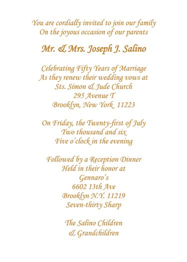 50th wedding anniversary invitation wording combine two wordings,