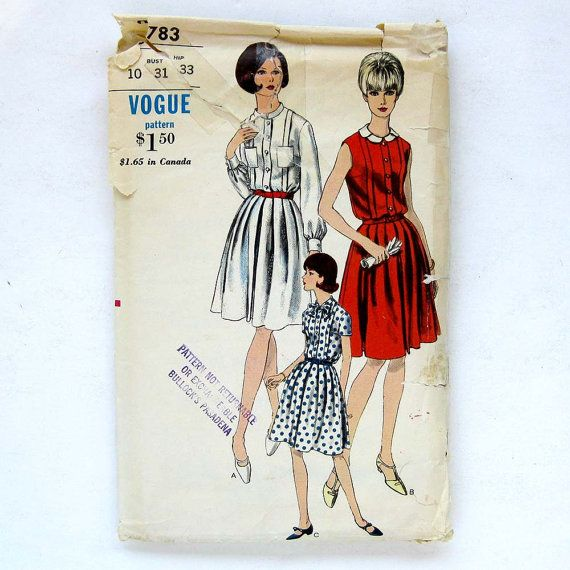 Vintage Dress Pattern Vogue 6783  1960s Sleeveless Fitted Bodice Full Skirt / Size 10 Bust 31