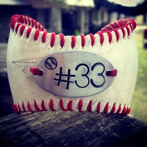Baseball Bracelet with Handstamp of jersey number. $25.00, via Etsy.