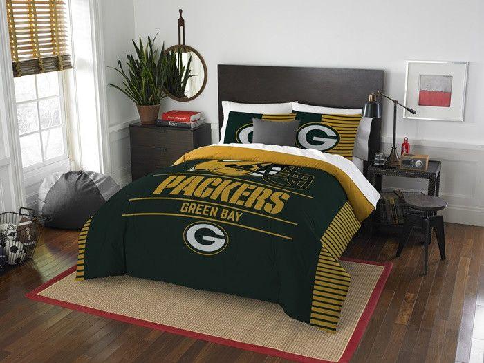 Green Bay Packers NFL Draft Full-Queen Comforter Set. Includes full-queen comforter and 2 shams.  Visit SportsFansPlus.com for Details.
