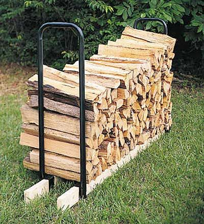 "Log Rack Kit. Tubular steel ends. Use with 2x4s of any length to create a rack the exact length/size your need. Set of two. 12"" Wide x 42"" High. How about using to make console table...."