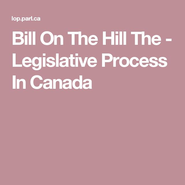 Bill On The Hill The  - Legislative Process In Canada