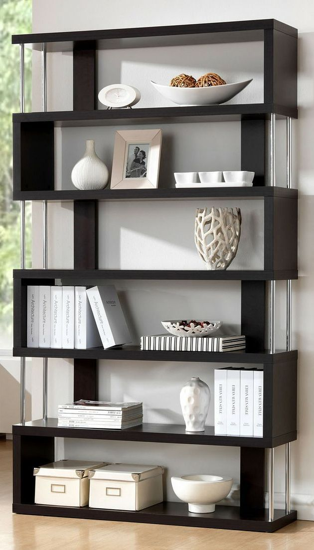 Barnes Dark Wenge 6 Shelf Modern Bookcase - modern office decor ideas