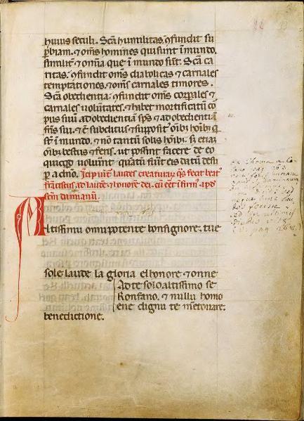 Riproduzione dal Codice 338, f.f. 33r - 34r, sec. XIII - Biblioteca del Sacro Convento di San Francesco, Assisi