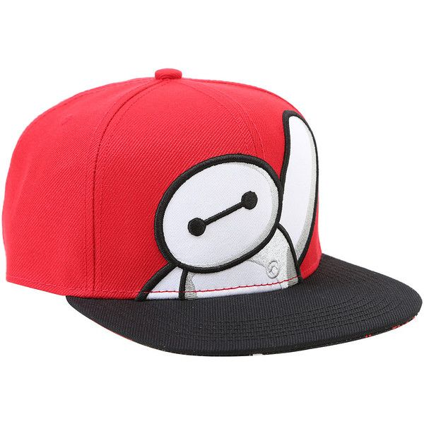 Disney Big Hero 6 Baymax Snapback Hat Hot Topic ($16) ❤ liked on Polyvore featuring accessories, hats, snap back hats, print hats, embroidered hats, polyester hat and disney