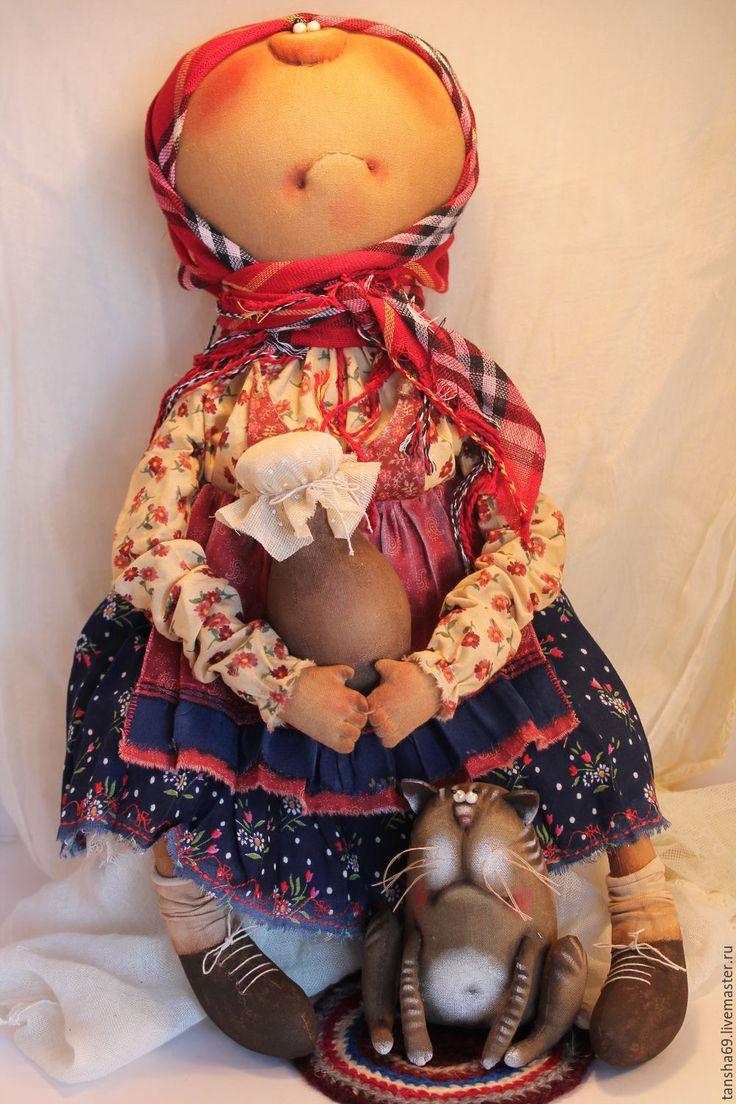 Купить Хозяюшка - комбинированный, текстильная кукла, ароматизированная кукла, интерьерная кукла, деревенский стиль, котик