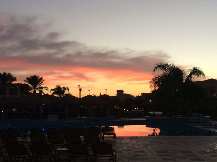 Sunset at the Jaz Mirabel Beach hotel in Sharm el Sheikh.