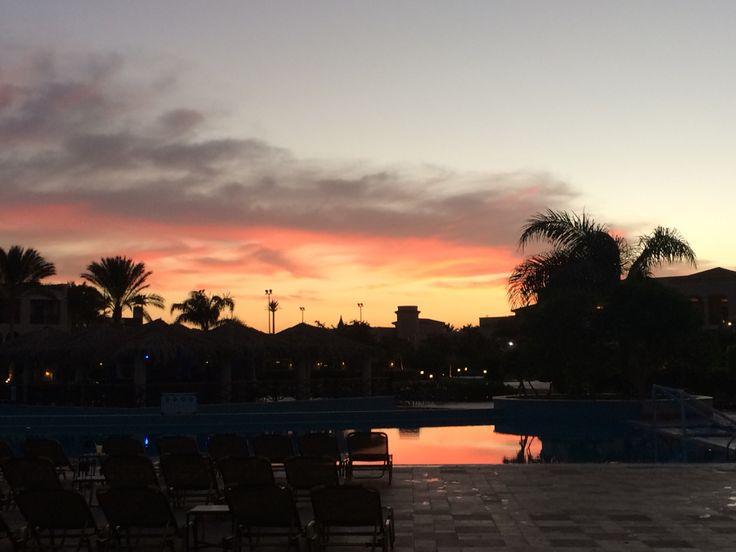 Sunset at the Jaz Mirabel Beach hotel in Sharm el Sheikh.