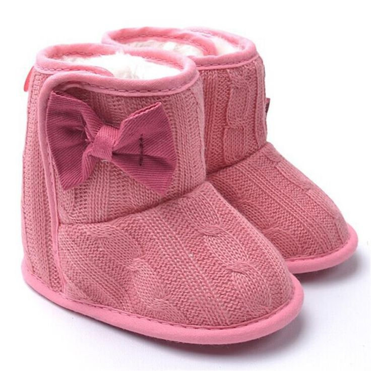 Knited Faux Fleece Crib Snow Boots Kid Baby Shoes Bowknot Woolen Yam Fur Knit Shoes