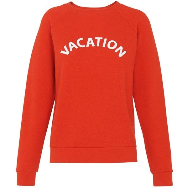 Whistles Vacation Logo Top, Red ($96) ❤ liked on Polyvore featuring tops, whistles tops, red top, long sleeve tops, logo top and relaxed fit tops