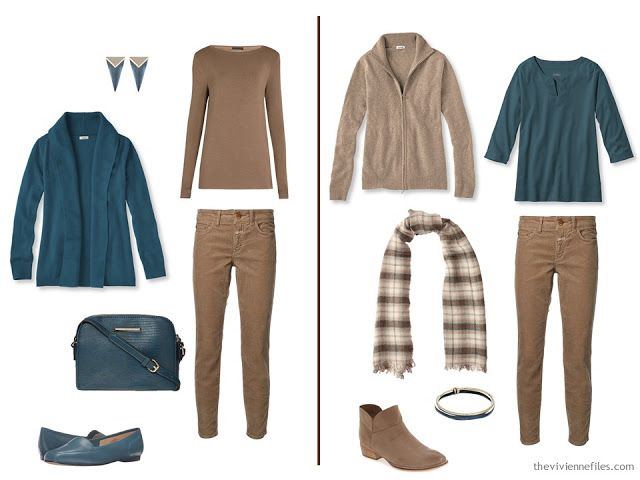 Two outfits that combine camel and teal
