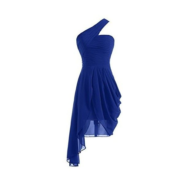 Olidress Women's One Shoulder Short Ruched Chiffon Bridesmaid Dress... ($69) ❤ liked on Polyvore featuring dresses, short dresses, blue bridesmaid dresses, blue dress, one shoulder dress and bridesmaid dresses