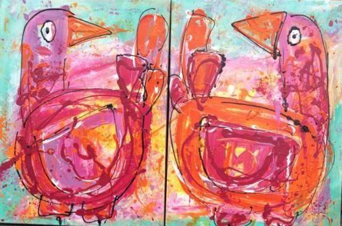 Vreemde eenden  Kleurrijke kunst 2 Luik  art  Modern abstract  Www.carinart.nl