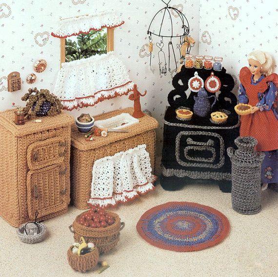 Vintage Crochet Pattern PDF  Fashion Doll Home Decor  House Furniture Country Kitchen  Stove