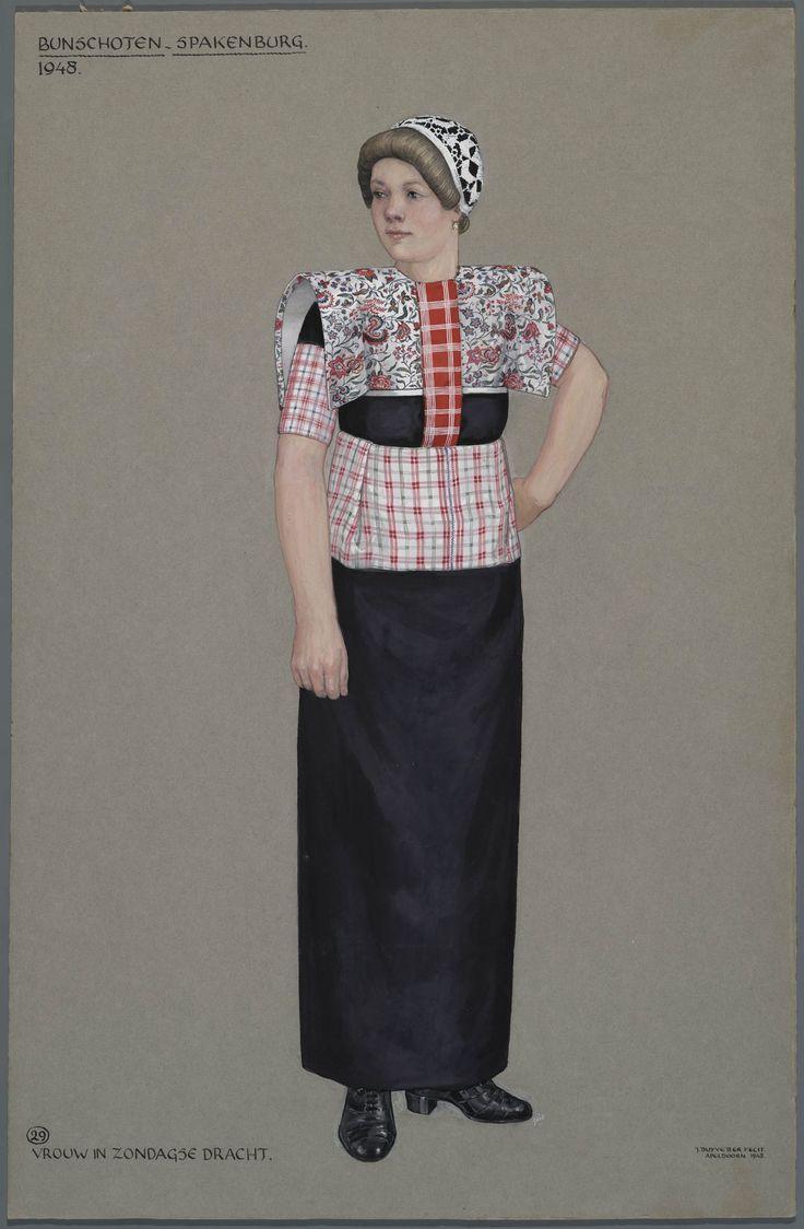 Bunschoten-Spakenburg 1948. Vrouw in zondagse dracht. Jan Duyvetter #Utrecht #Spakenburg