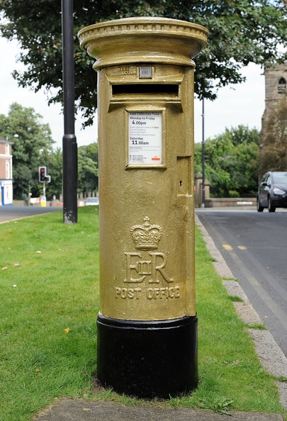 Gold Post Box in Chorley to commemorate Bradley Wiggins London 2012 Olympic Gold Medal