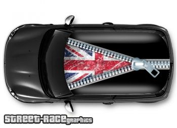 Grunge union jack - printed and laminated (air release) vinyl car roof graphics.