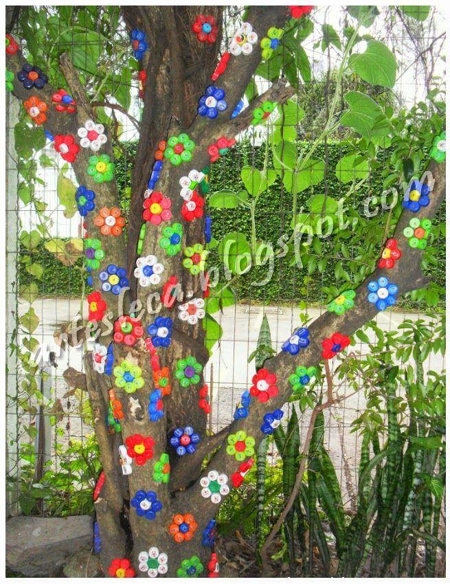 Aparador De Grama Tramontina ~ Flores feitas com tampinhas de garrafas PET #artesanato #tampinhas #reciclagem Artes Leca