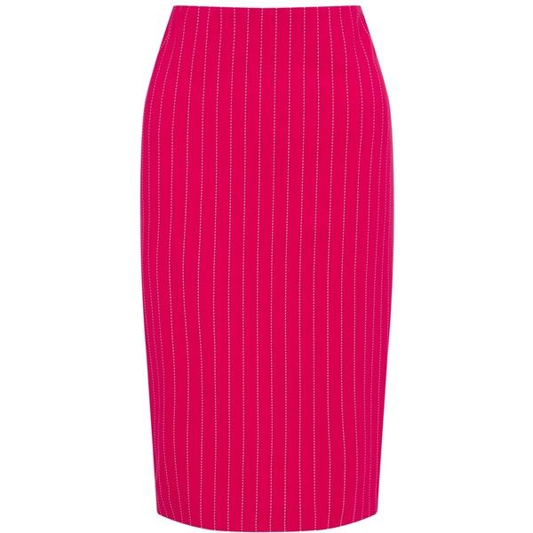 Marc Cain Pin Stripe Stretch Pencil Skirt (1,575 CNY) ❤ liked on Polyvore featuring skirts, stretch pencil skirt, print pencil skirt, stretchy pencil skirt, elastic waist skirt and pencil skirts