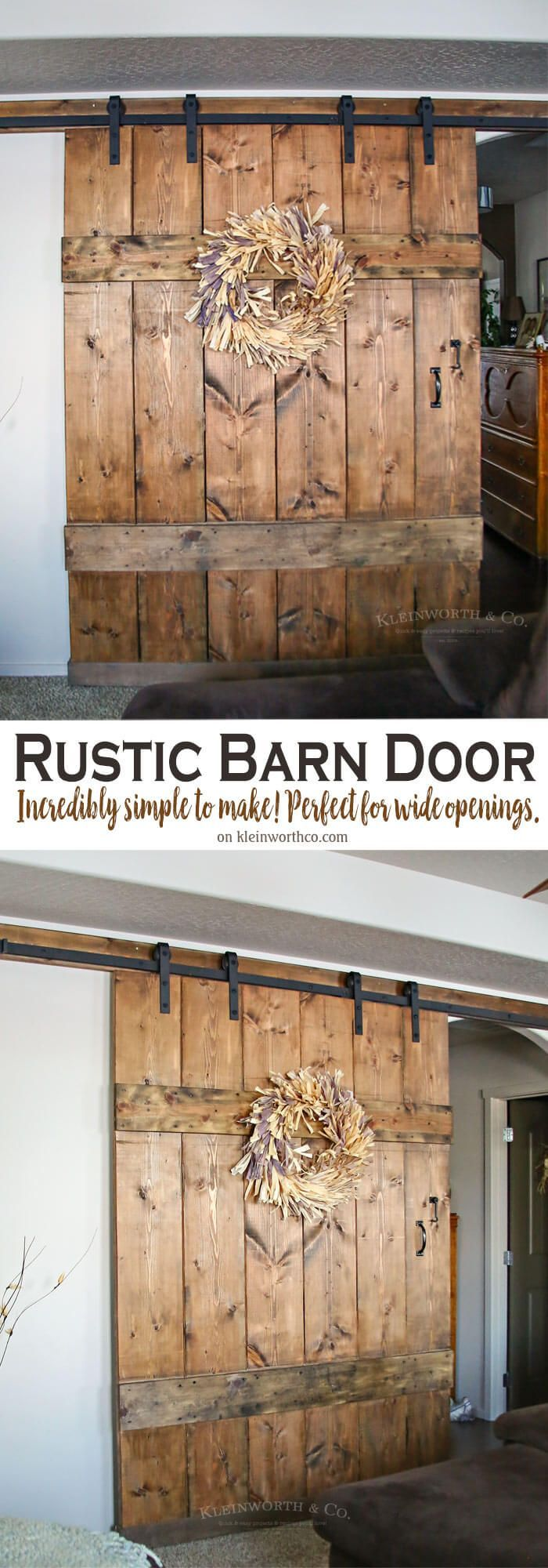 Wide Rustic Barn Door is 6 feet wide & made for extra large doorways. It's simple to make & adds functionality & rustic charm to your home. via @KleinworthCo
