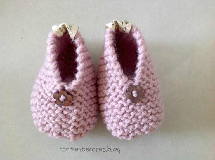 carmenbecares.blogspot.com: TUTORIAL. PATUCOS BEBE III ( dos agujas). BABY BOOTIES. KNITTED TUTORIAL