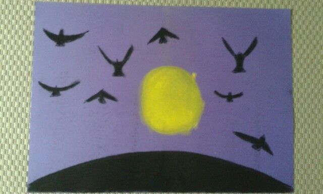 Birds flying at night. Dry pastels