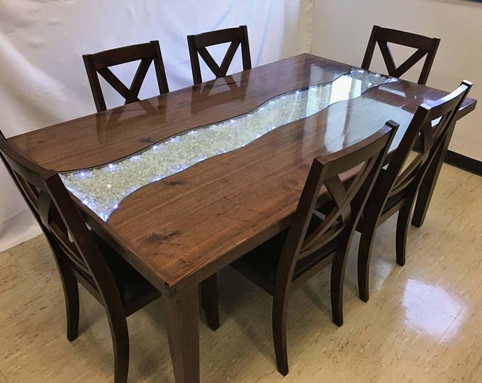 Glowing River Dining Table Etsy Dining Table Glass Dining