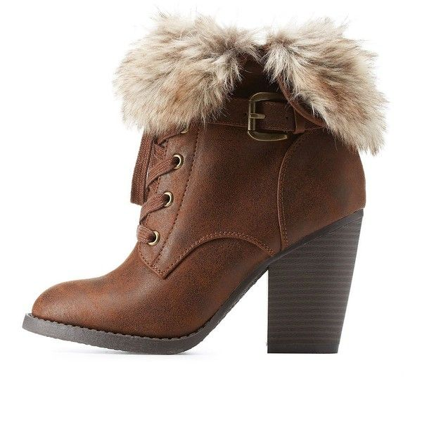 Charlotte Russe Faux Fur-Cuffed High Heel Combat Booties (£14) ❤ liked on Polyvore featuring shoes, boots, ankle booties, brown, high heel booties, faux suede lace-up booties, brown boots, brown booties and lace up high heel booties