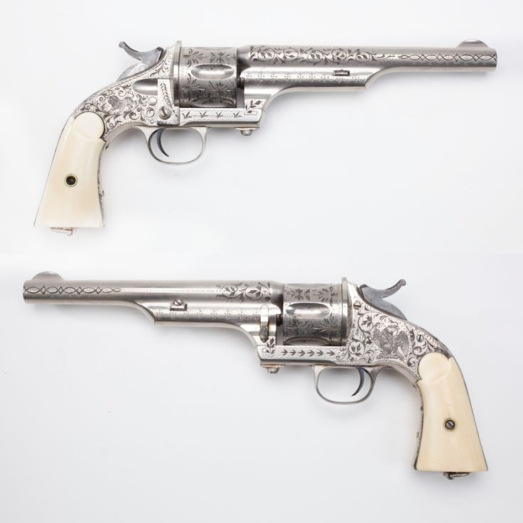 """Merwin & Hulbert Revolver - The M&H single-action was available in 3 different, but all .44 ca cartridges. You could get a .44-40 revolver marked Calibre Winchester 1873, a revolver stamped Calibre .44 M&H for their own proprietary round, or even a sixgun stamped Russian Model for the .44 S&W Russian cartridge. From 1876-1880s, these large frame handguns were manufactured in a variety of barrel lengths from 3.25-7"""". At the NRA National Sporting Arms Museum at Bass Pro Shops in Springfield…"""