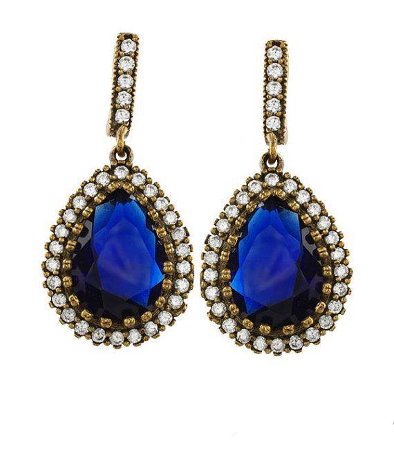 Turkish ottoman Hurrem Sultan classic sapphire earrings