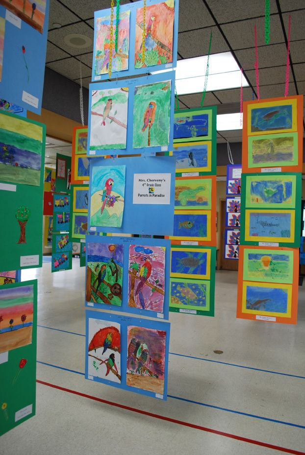 "A ""how-to"" for creating hanging displays for school art shows - inexpensive way to show students' works"