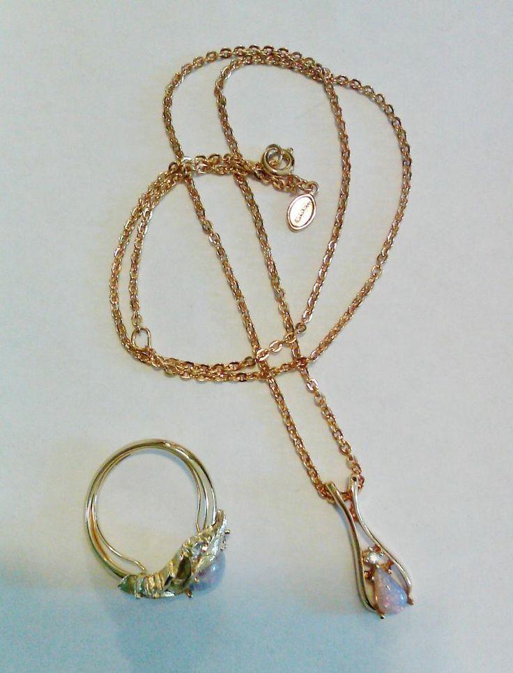Estate Jewelry Vtg Avon Fireflower Faux Opal Leaf Ring Necklace Set Size 7 To 9 Avon