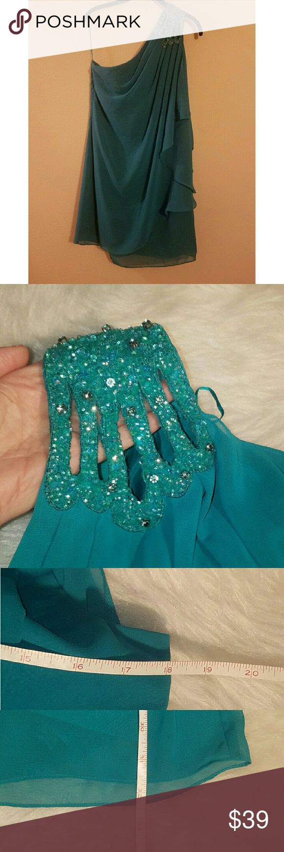 One shoulder dress with rhinestones Gorgeous dress, one shoulder, flowy shoulder, fully lined, beading and rhinestones on one shoulder, EUC!! No flaws or signs of wear JS Boutique Dresses One Shoulder