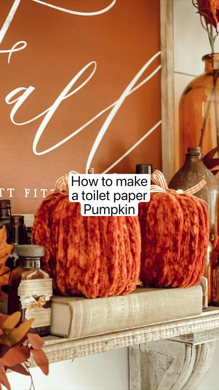 Fall Wood Crafts, Easy Fall Crafts, Diy Crafts, Fall Diy, Yarn Crafts, Paper Pumpkin, Pumpkin Art, Pumpkin Crafts, Fall Home Decor