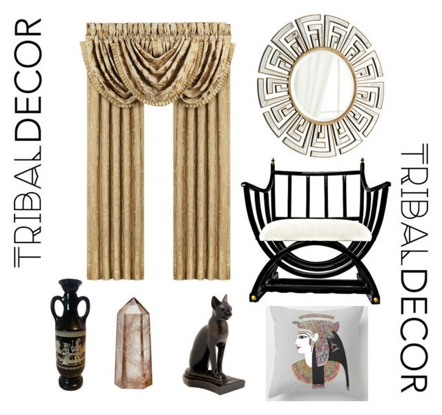 """""""Egyptian inspired room"""" by mrs-beany ❤ liked on Polyvore featuring interior, interiors, interior design, home, home decor, interior decorating, RabLabs, J. Queen New York and tribaldecor"""