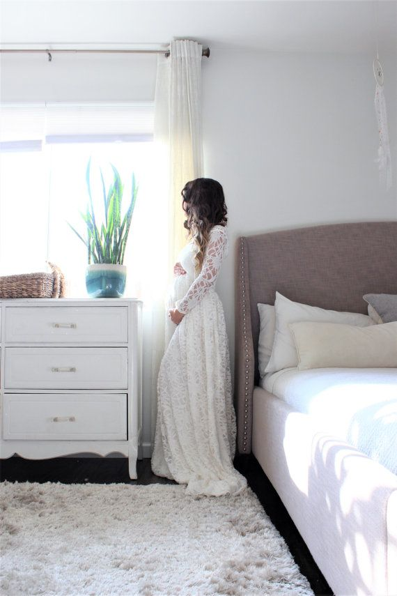 long sleeve Maternity wedding gown maternity dress  by EmbieBaby